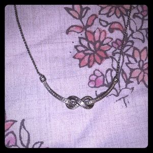 Jewelry - 925 silver and diamond infinity curve necklace